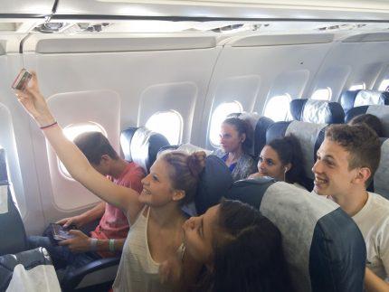 selfie avion voyage
